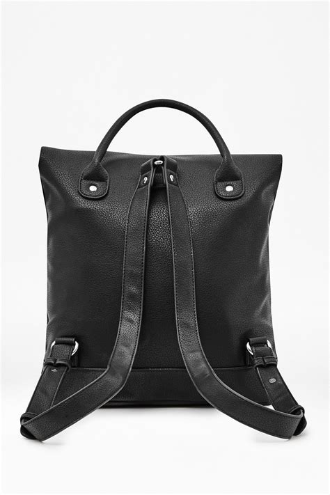 Fossil Back Pack Square Black lyst connection carla faux leather backpack in black