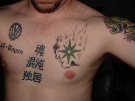 star chest tattoo pin on chest shooting on