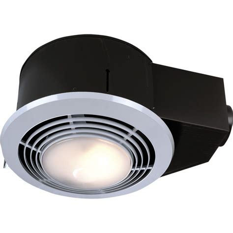 Bathroom Ceiling Light And Fan 100 Cfm Ceiling Exhaust Fan With Light And Heater Qt9093wh The Home Depot