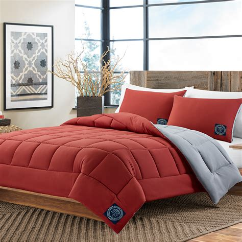 gray and red bedding eddie bauer red gray reversible comforter set from