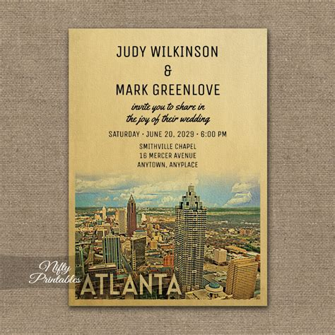 Wedding Invitations Atlanta by Atlanta Wedding Invitation Printed Nifty Printables