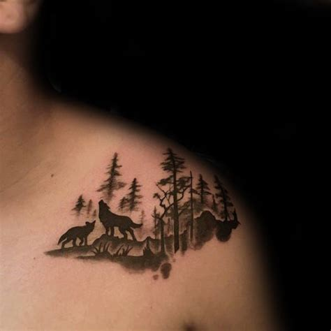 simple wolf tattoo 100 forest designs for masculine tree ink ideas