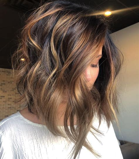 dark brown hair with caramel underneath on inverted bobs 70 balayage hair color ideas with blonde brown and