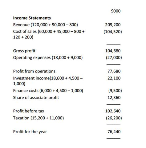 simple income statement template sle income statement 12 free documents in pdf word