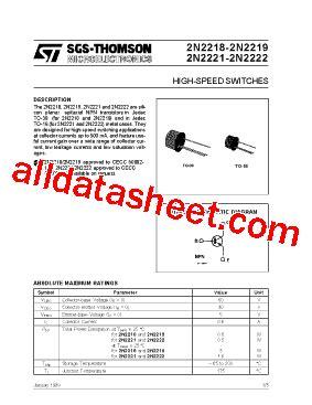 datasheet of transistor 2n2222 2n2222 datasheet pdf stmicroelectronics