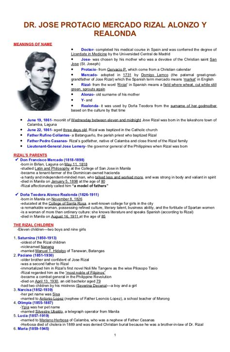 Summary Resume Sample by An Outline Of Jose Rizal S Life