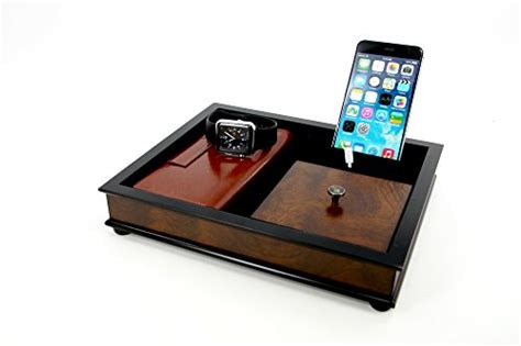 buy decorebay hardwood mahogany multi device charging station executive high class cufflink case ring storage