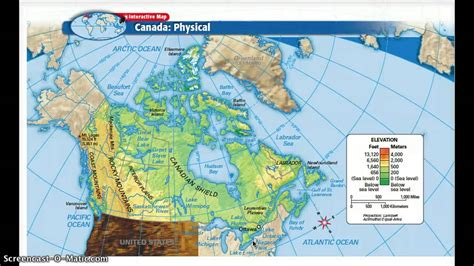 usa and canada physical features map physical and political features of canada