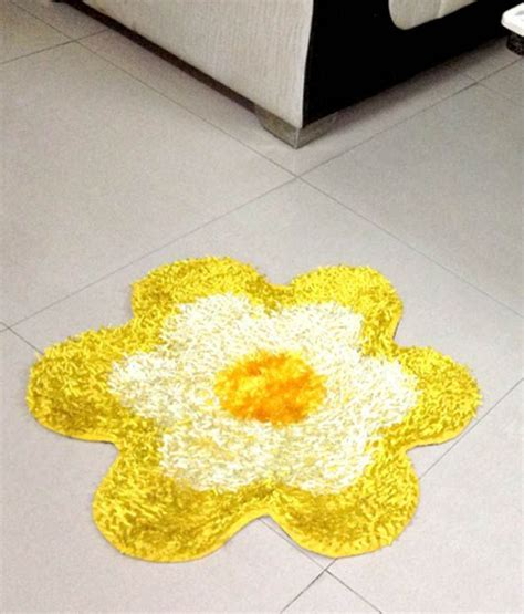 yellow flower rug fablooms yellow flower shaped shaggy rug