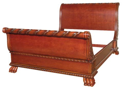 Solid Wood Sleigh Bed Solid Wood Cherry Carved Style Sleigh Bed Traditional Bedroom Furniture Sets
