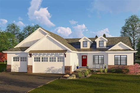 one farmhouse one modern farmhouse plan with vaulted great room