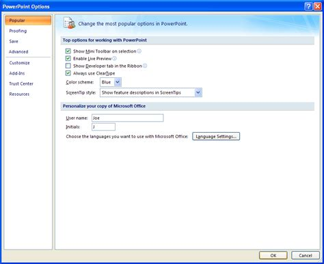 tutorial microsoft powerpoint 2007 setting general powerpoint options introduction