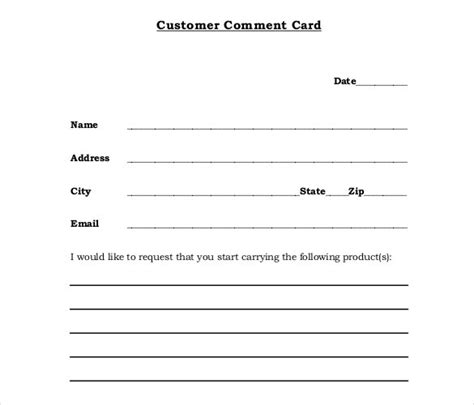 free comment card template pin customer comment cards for restaurants templates on