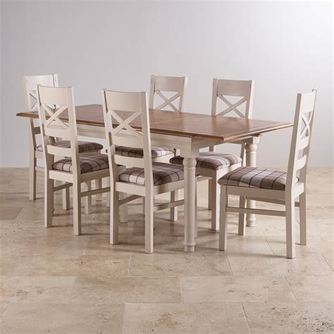 Painted Oak Dining Table And Chairs Shay Dining Table Set In Painted Oak 6 Brown Check Chairs