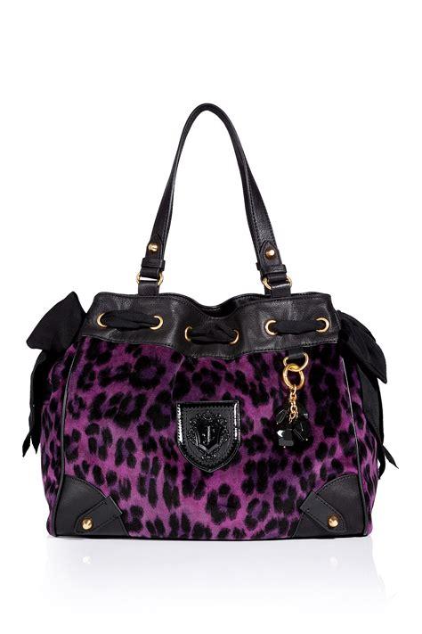 juicy couture purple leopard velour daydreamer bag
