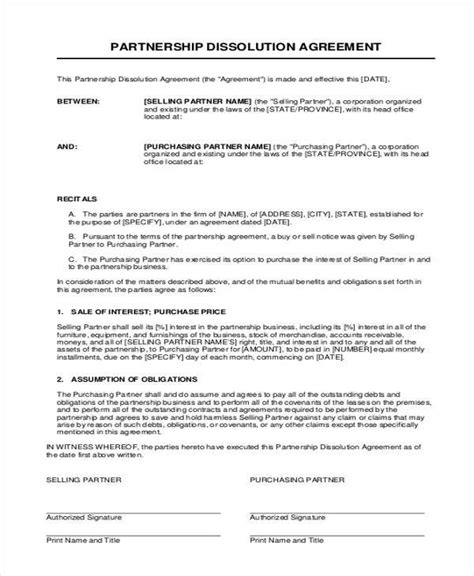 partnership dissolution agreement template 11 partnership agreement form sles free sle