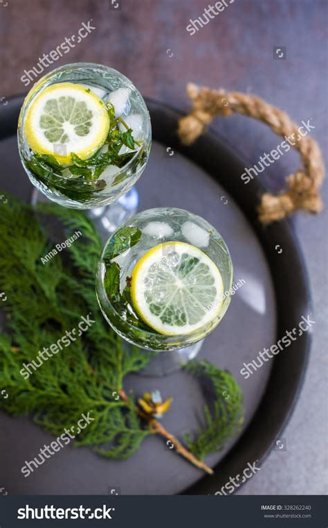How Much Are Detox Drinks From Retro by Vintage Glasses Detox Lemon Mint Stock Photo
