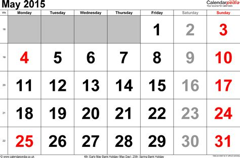 Calendar 2015 May Excel Calendar May 2015 Uk Bank Holidays Excel Pdf Word Templates