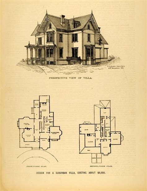 historic victorian floor plans 1878 print victorian villa house architectural design