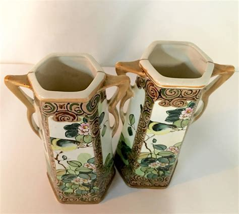 Royal Nippon Vase by Pair Of Antique Royal Nippon Painted Bird And Flora