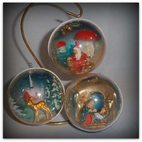 vintage christmas diorama plastic ornaments italy