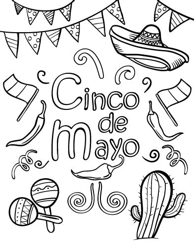 coloring pages for cinco de mayo printable cinco de mayo coloring page free pdf download