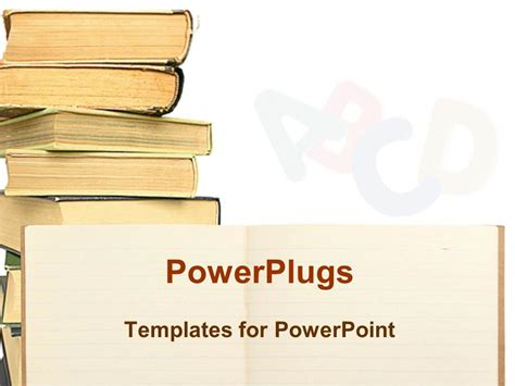 powerpoint tutorial book powerpoint template high stack of books of different