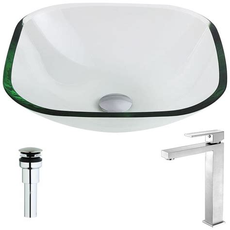 clear bathroom sink shop anzzi cadenza series clear tempered glass square