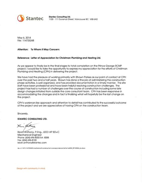 appreciation letter to project team christman plumbing heating ltd recieves letter of