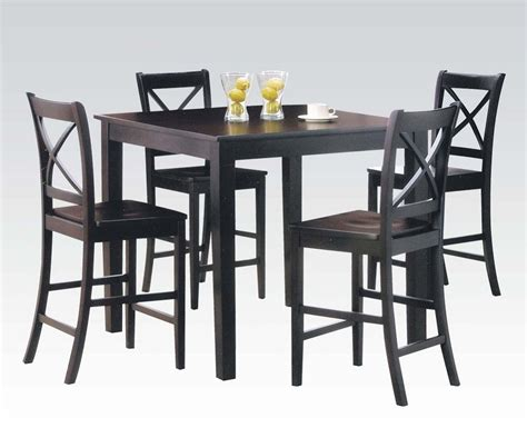 espresso dining table set 5pc espresso finish counter height dining table set