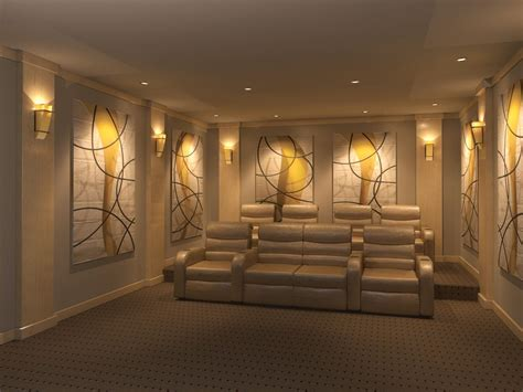 home theater featuring original art gold revealed