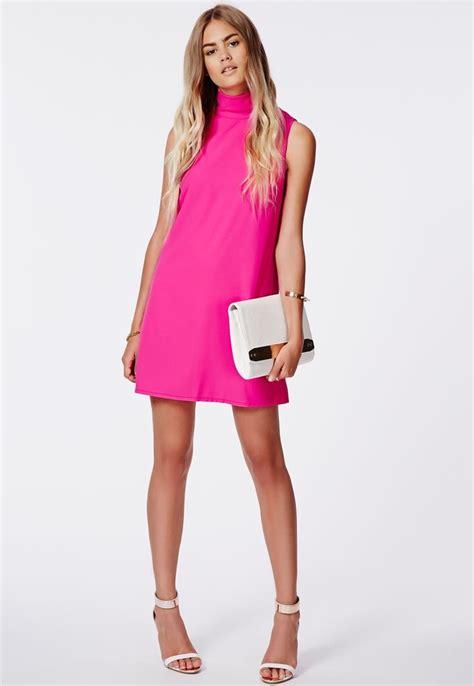 hot pink swing dress hot pink swing dress missguided callie roll neck shift