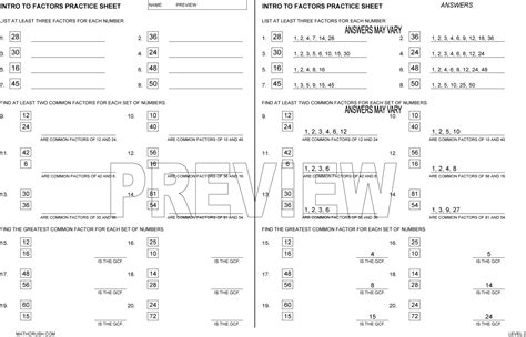factors multiples and divisibility worksheets multiples and factors worksheets by math crush