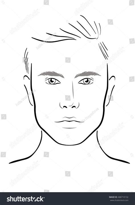 men face chart makeup artist blank stock vector 488710132