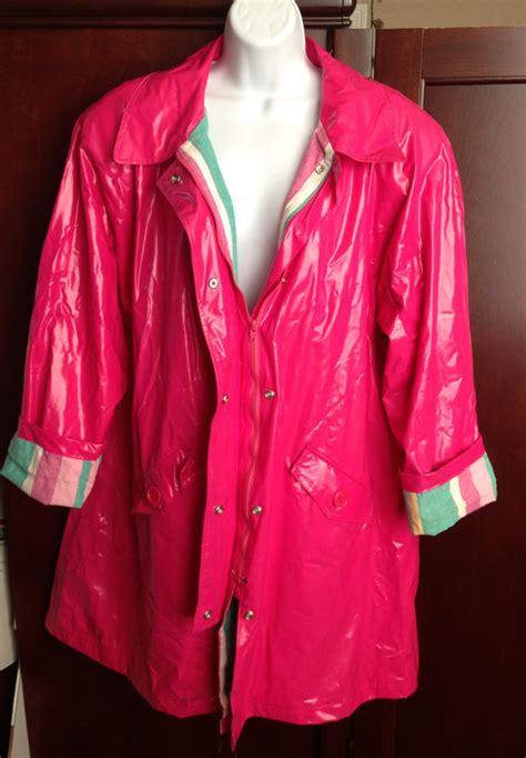 sale 80s bright pink shiny vinyl jacket coat large