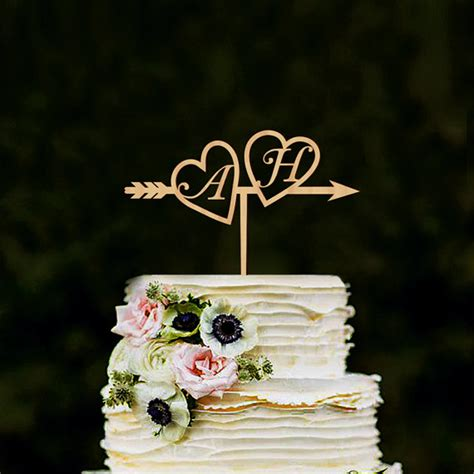 Monogram Wedding Cake Toppers by Monogram Wedding Cake Topper Wood Initials Gold Silver
