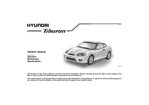 service manual auto manual repair 2005 hyundai tiburon user handbook 2005 owner s manual