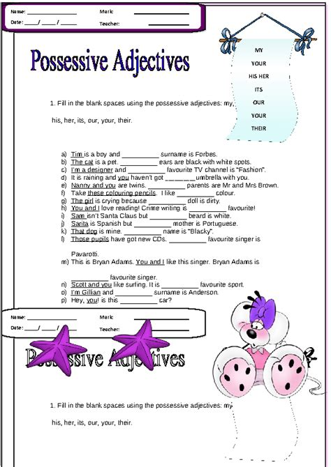 Possessive Adjectives Worksheet by Possessive Adjectives Elementary Worksheet