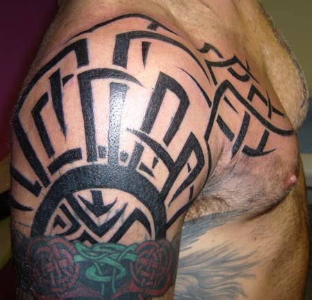 tribal tattoo on chest and shoulder tribal tattoos for shoulder