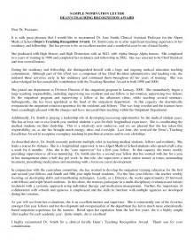 nomination letter sles resume cover letter template