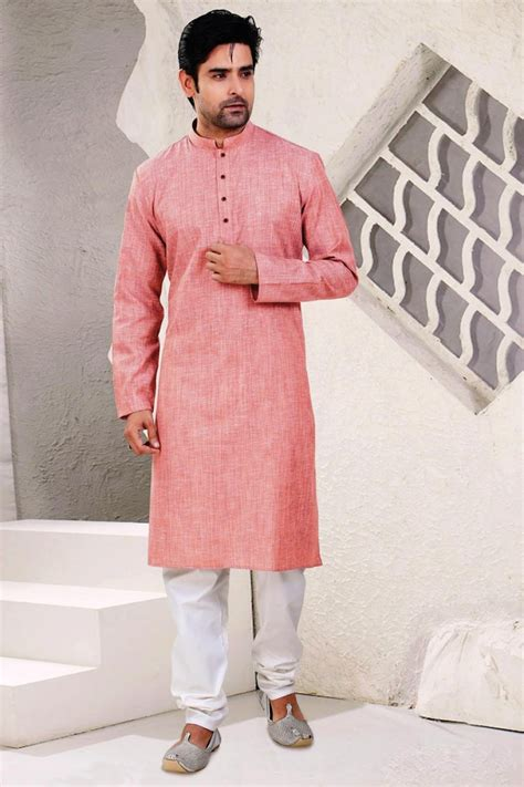 kurta colors stylish cotton kurta pyjama in peach color from