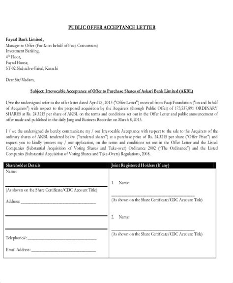 bid and offer offer acceptance letter in pdf acceptance
