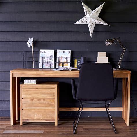 console bois 902 bureau en teck meuble informatique avec caisson pc