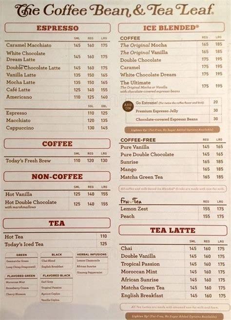 Daftar Menu Coffee Bean the coffee bean and tea leaf indonesia menu theleaf co