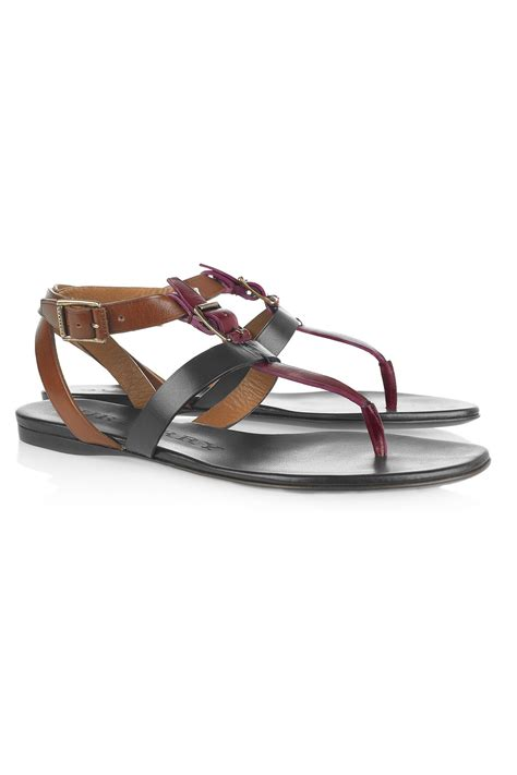 burgundy sandals burberry tritone leather sandals in brown burgundy lyst