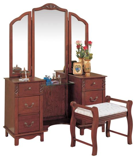 Bedroom Makeup Vanities Traditional Vanity Set Tri Fold Mirror Fabric Seat Make Up