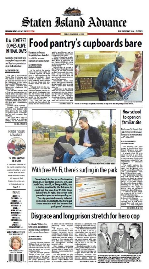 Food Pantries In Staten Island by Staten Island Advance Headlines Friday Nov 4 2011