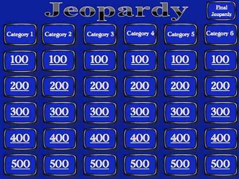 jeopardy powerpoint template 6 categories jeopardy game