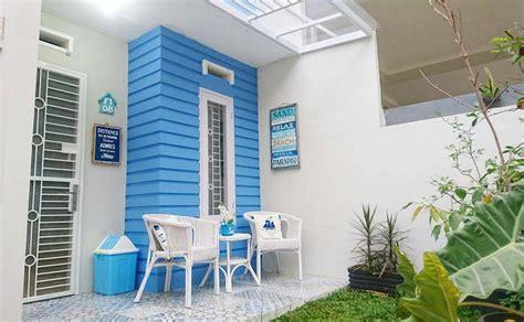 model teras rumah  warna cat teras rumah biru putih