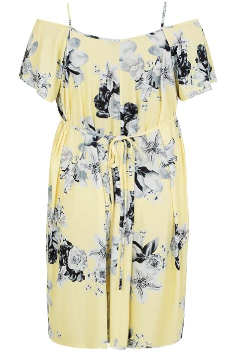 Yellow Big Floral Blouse Made In Spain Fashionme Fo Branded yellow grey floral cold shoulder jersey cami dress with